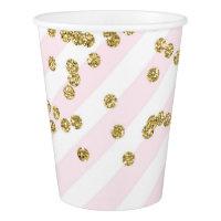 Gold Confetti Light Blush Pink Stripes Paper Cup