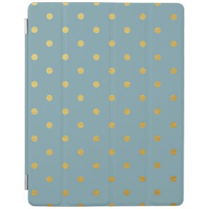 Gold Foil Polka Dots Modern Slate Blue Metallic iPad Cover