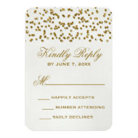 Gold Glamour Glitter Confetti Wedding RSVP Card