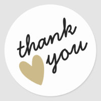 Gold Heart Thank You Classic Round Sticker