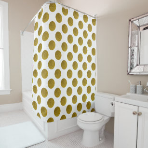 Gold Dots Shower Curtains
