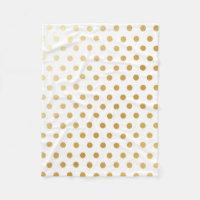 Gold Polka Dots Pattern Fleece Blanket