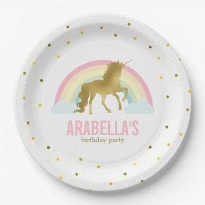 Gold Unicorn Girls Birthday Party Paper Plate