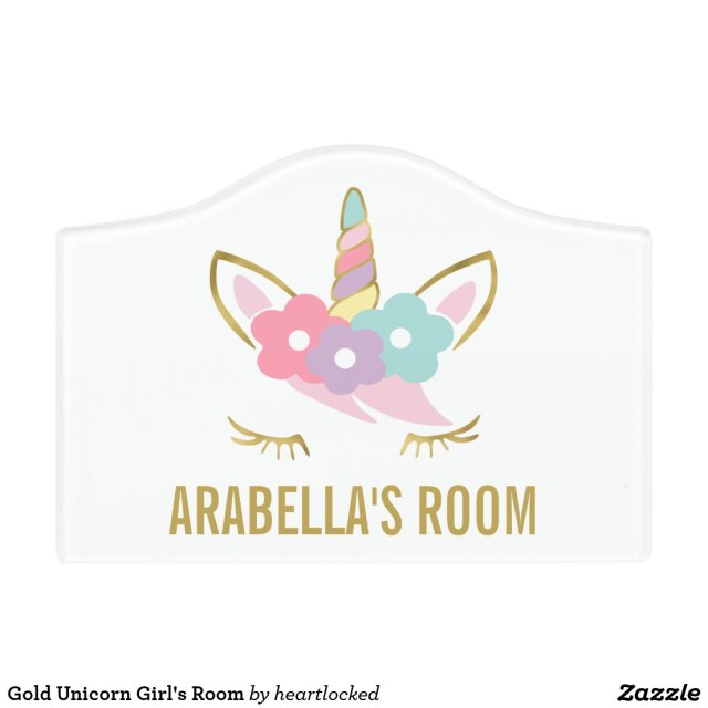 Gold Unicorn Door Sign
