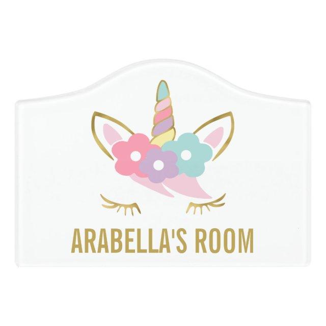 Gold Unicorn Door Sign
