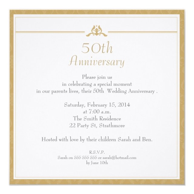 Gold Wedding Anniversary Invitation Card