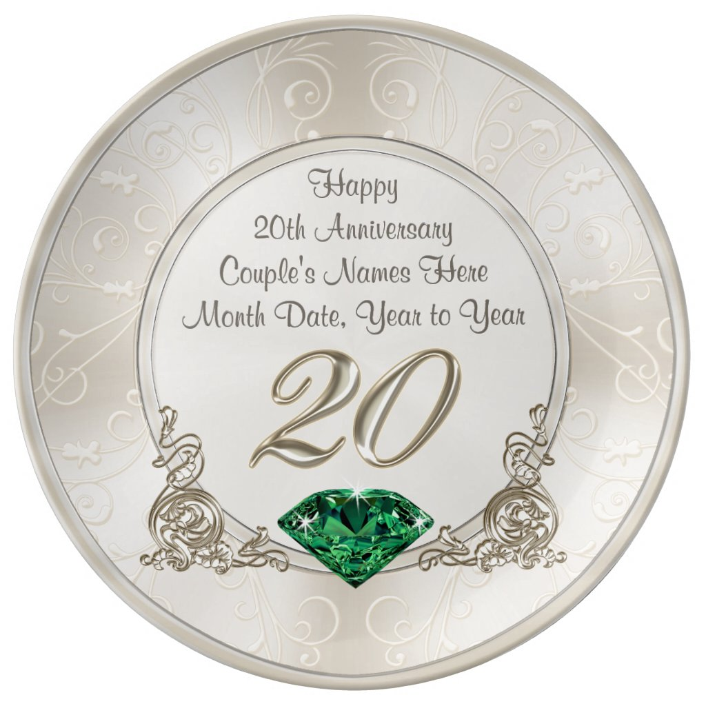 Gorgeous Personalised 20th Anniversary Gifts Plate