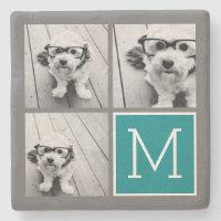 Photo Collage Monogram Stone Coaster