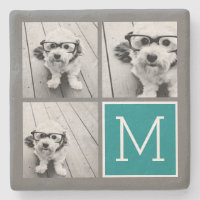 Photo Collage Monogram Stone Coaster