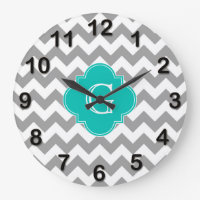 Chevron ZigZag Monogram Clock