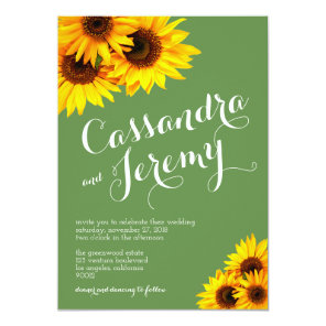 Green and Yellow Sunflowers Wedding Invitation
