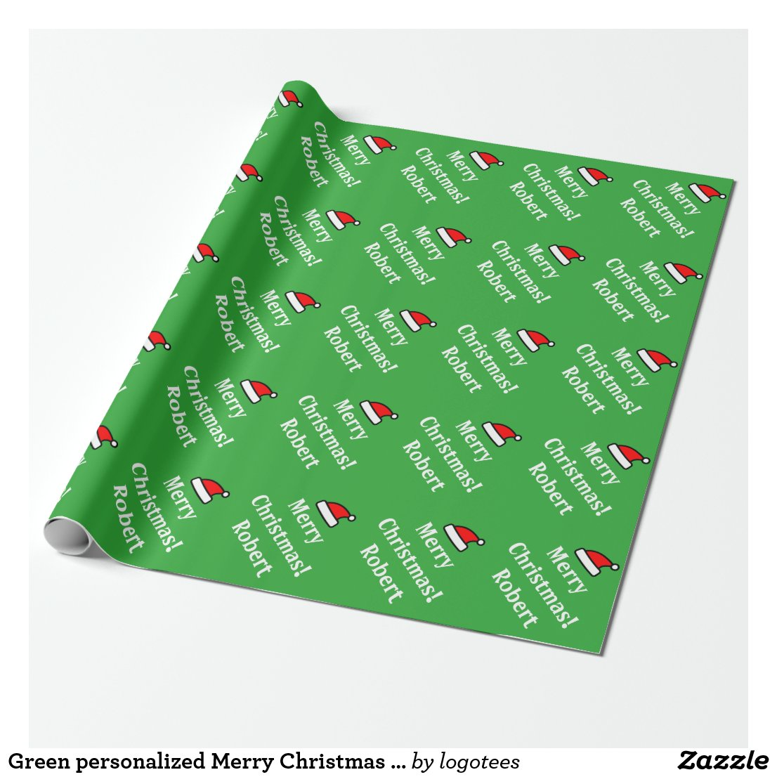 Green personalised Merry Christmas wrapping paper