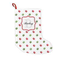 Green Red Personalized Pet Name Christmas Small Christmas Stocking