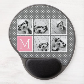 Grey and Pink Instagram 5 Photo Collage Monogram Gel Mouse Mat
