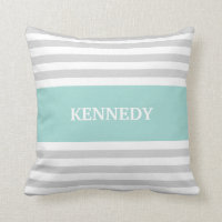 Grey Teal Stripes Monogram Pillow