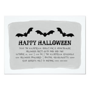 Grey Watercolor Bats Halloween Party Invite