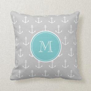 Grey White Anchors Pattern, Teal Monogram Cushion