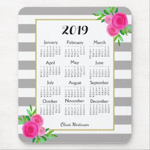 Grey White Striped Floral Monogram 2019 Calendar Mouse Mat