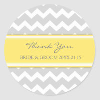 Grey Yellow Chevron Thank You Wedding Favor Tags Classic Round Sticker