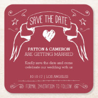 Hand Drawn Banner Save the Date Coaster
