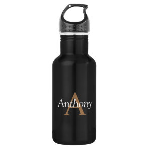 Handsome Black Modern Gold Monogram Trendy Initial 532 Ml Water Bottle