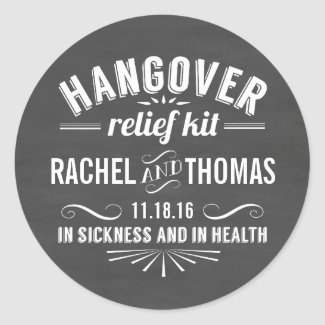 Hangover Relief Kit | Chalkboard Wedding Favour Stickers