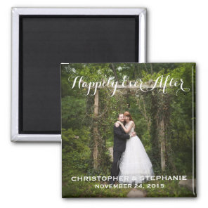 Happily Ever After Wedding Favour Photo Magnet