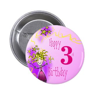 Happy 3rd birthday pink fairy badge