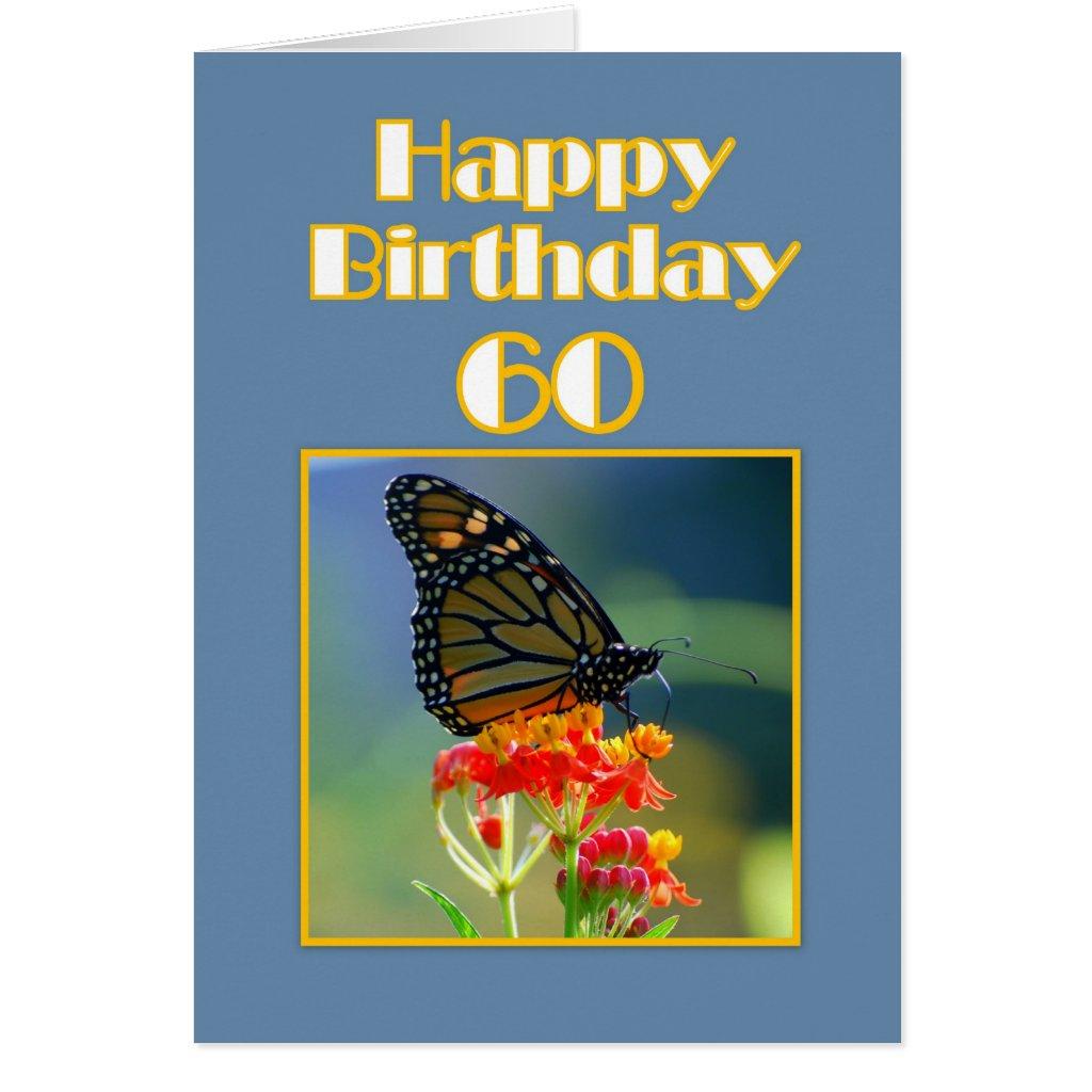 Happy 60th Birthday Monarch Butterfly Card