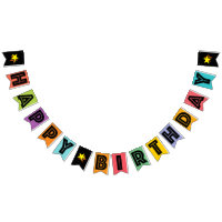 HAPPY BIRTHDAY ? BLACK TEXT ON MULTICOLOR BKGD BUNTING FLAGS
