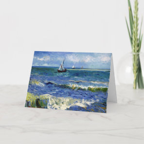 Happy Birthday Card Sailboat on the Ocean Waves