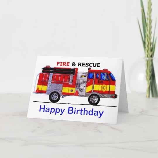 Happy Birthday Fire Truck Card Zazzle Co Uk