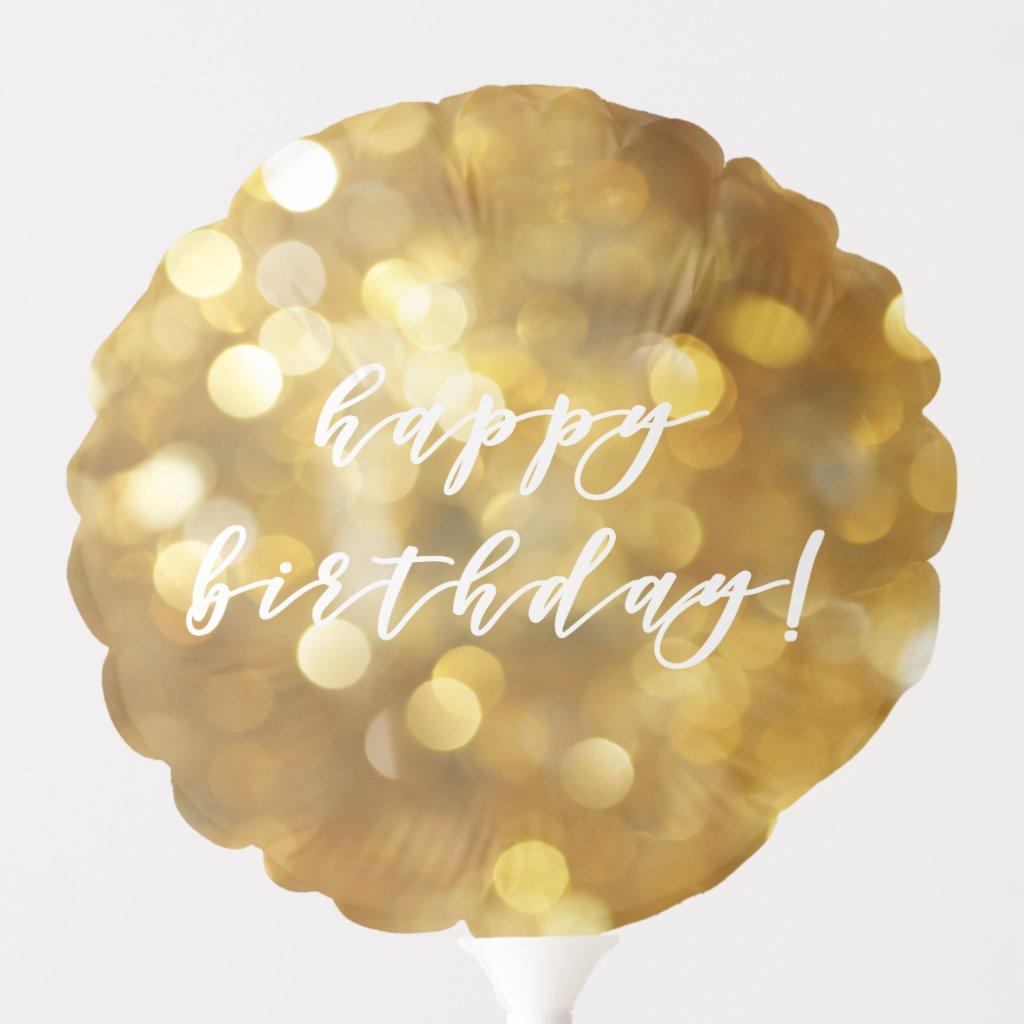 Happy Birthday! Glamourous Gold Sparkles Balloon