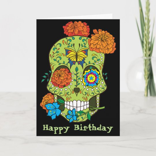 Happy Birthday Tattoo Sugar Skull Rose In Mouth Card Zazzle Co Uk