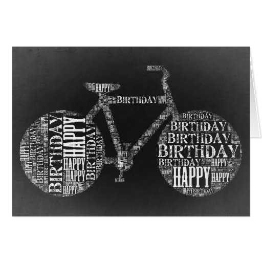 Happy Birthday Typography Bicycle Card Blank Zazzle