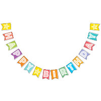 HAPPY BIRTHDAY ☆ WHITE TEXT ON MULTICOLOR BKGD BUNTING FLAGS