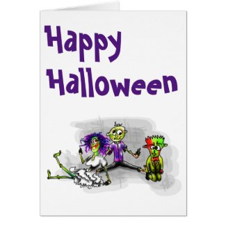 Happy Halloween illustration of 3 zombies g/card