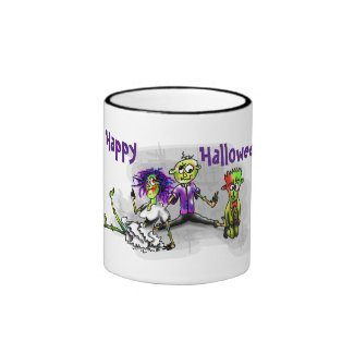 Happy Halloween, illustration of 3 zombies mug