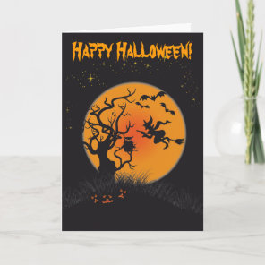 Happy Halloween Moon and Witch 2 Card