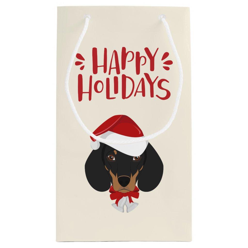 Happy Holidays - Cute Santa Dachshund - Christmas Small Gift Bag