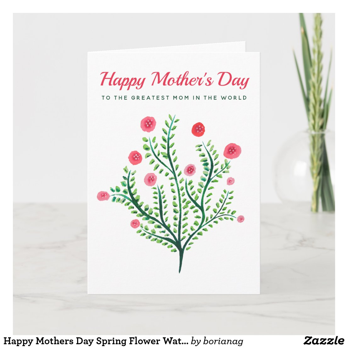 Happy Mothers Day Spring Flower Watercolor Card