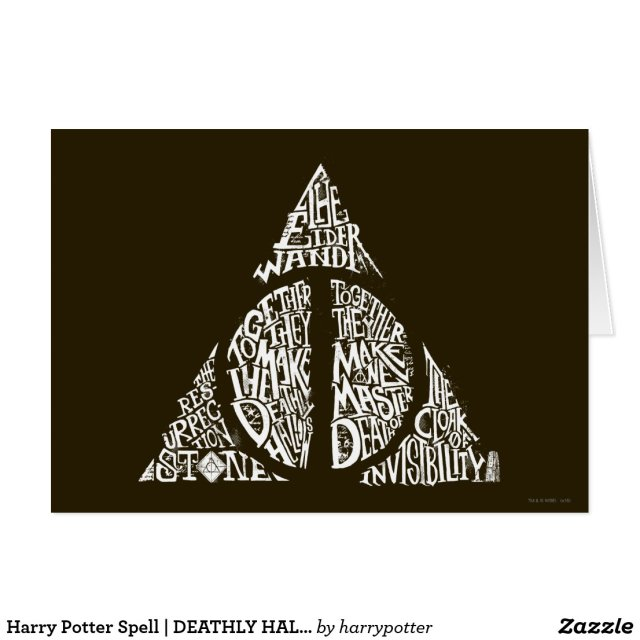 Harry Potter Spell | DEATHLY HALLOWS Typography Gr Card