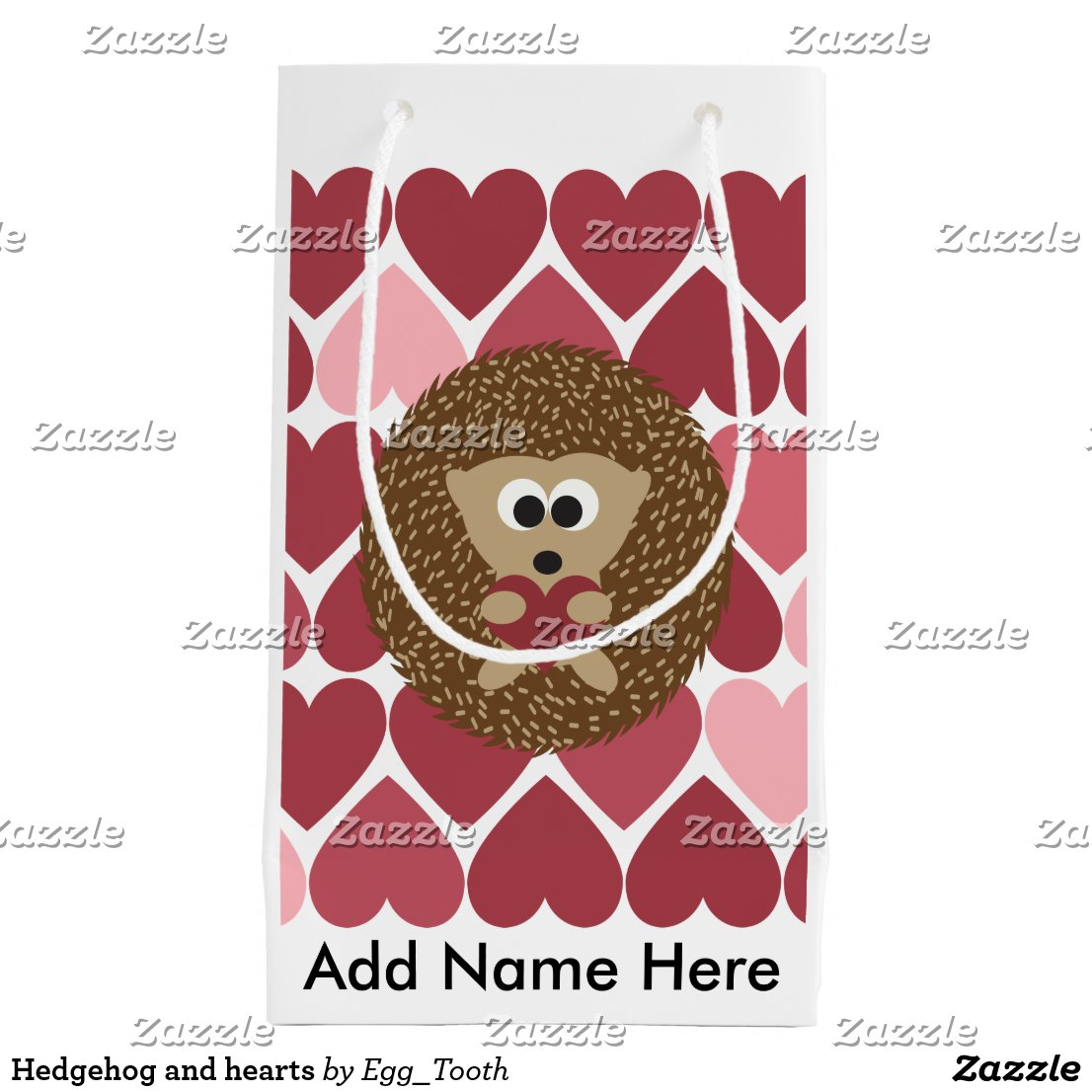 Hedgehog and hearts gift bag