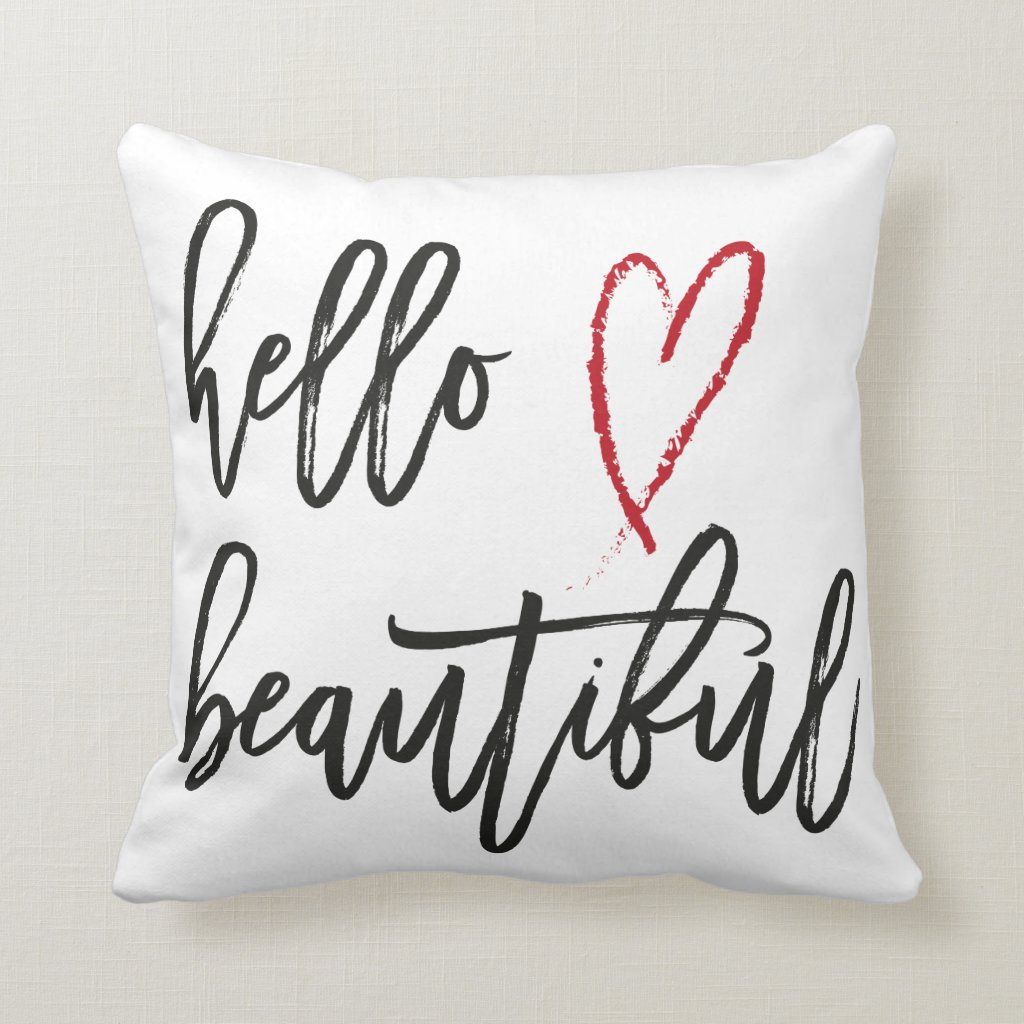 Hello Beautiful Red Heart Brush Stroke Cushion