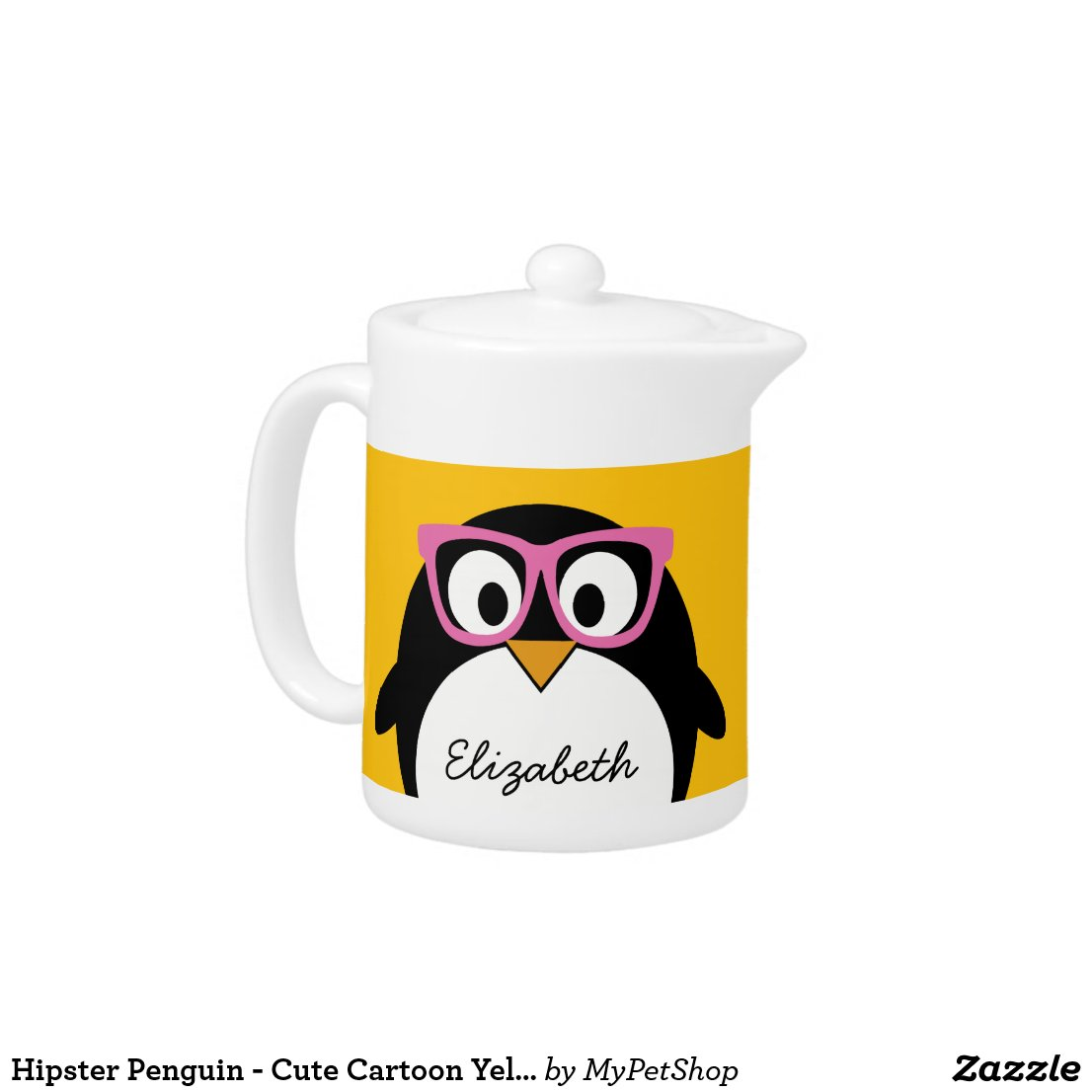 Hipster Penguin Tea Pot