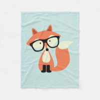 Hipster Red Fox Fleece Blanket