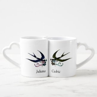 His and Her Vintage Lovebirds Personalised Couple Mug