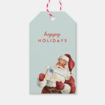 Holiday Vintage Santa Happy Holidays Christmas Pack Of Gift Tags