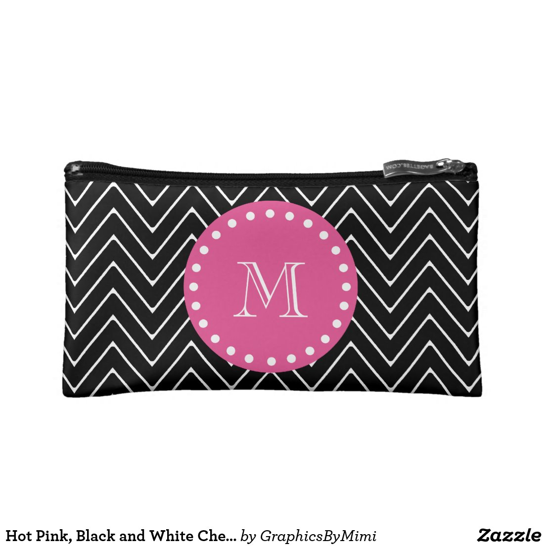 Hot Pink, Black and White Chevron | Your Monogram Cosmetic Bag