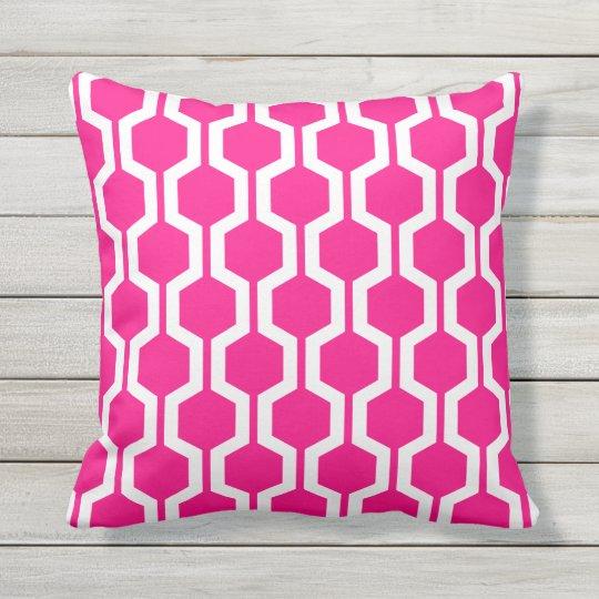 hot pink geometric trellis outdoor pillows